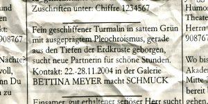 Einladungskarte, Bettina Meyer macht Schmuck: Kontaktanzeige, 2004